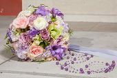 picture of purple rose  - wedding bridal bouquet with white anemones roses daisies and purple beads - JPG