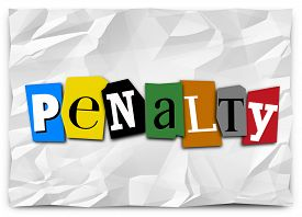 picture of punish  - Penalty word in cut out letters on a ransom note or message to illustrate a fee or punishment for being late or breaking rules - JPG