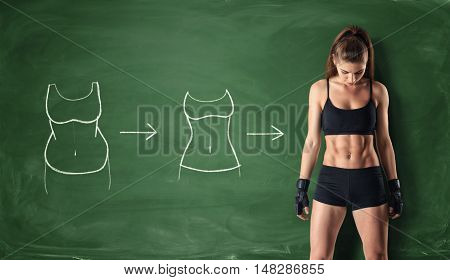 poster of Concept of how a girl's body changing - from fat belly to perfect waist and abs on the background of a chalkboard. Self-improvement and sport. Athletic body. Workout and fitness.