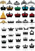 illustration with crown collection isolated on white background