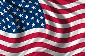image of usa flag  - flag of the USA waving in the wind - JPG