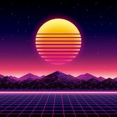 Retro futuristic background 1980s style. Digital landscape in a cyber world. Retro Wave music album  poster