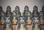 Many Glamour Beauty Woman Clones. Identical Crowd Concept. On Gray Background. poster