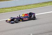 The racer of a of RBR-Renault on finish during The Formula 1 Grand Prix at autodrome