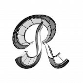 picture of alphabet letters  - The alphabet from a film isolated on a white background - JPG