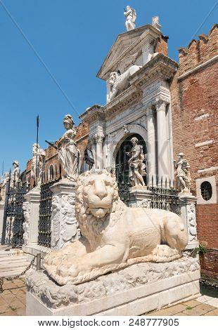 Ancient Greek Lion Statue At