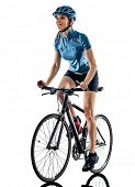 one caucasian cyclist woman cycling riding bicycle standing smiling isolated on white background poster