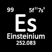 Periodic Table Element Einsteinium Icon On White Background. Vector Illustration. poster
