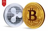 Bitcoin And Ripple. 3d Isometric Physical Coins. Digital Currency. Cryptocurrency. Silver Coin With  poster
