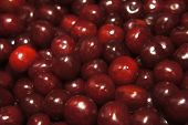 Cherry Background View From Above Red Ripe Cherry A Lot Filled, Vintage New Burgundy Juicy Delicious poster