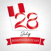 28 July, Peru Independence Day Greeting Card. Declared Of Independence Peru In 1821 Lettering Banner poster