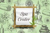 Spa Poster, Banner Template. Vector Realistic Bamboo Frame With Spa Center Lettering And Ink Hand Dr poster