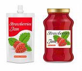 Strawberry Jam Packaging Mockup Set. Vector Realistic Illustration Of Glass Jar And Doypack Plastic  poster