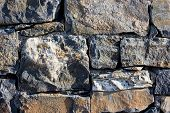 Stone Wall As A Background Or Texture. An Example Of Masonry As Cladding Of External Walls. poster