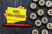 Writing Note Showing Mate, Now Hiring Motivational Call. Business Photo Showcasing Workforce Wanted  poster