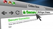 High Resolution 3d Illustration Of Ssl Secure Browser With Text Online Store Secure. Great Conceptua poster