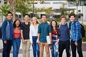 Portrait Of High School Students Outside College Buildings poster
