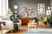 Happy Hipster Cozy Iving Room poster