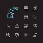 Seo Icons Set. Tags And Seo Icons With Responsive Design, Social Media And Seo Consulting. Set Of Pe poster