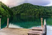 Pier On The Lake. Plitvice Lakes In The Evening. National Park Plitvice Lakes, Croatia. poster