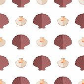 Shell And Mollusk Seamless Pattern With Seashells Of Brown Color, Shell With Meat Inside, Pattern Of poster