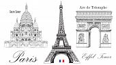 Vector Eiffel Tower, Triumphal Arch And Sacre Coeur Cathedral. Vector Hand Drawing Image Isolated On poster