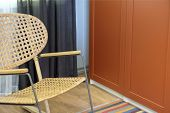 Wicker Chair.rocking Chair In White.chair On The Balcony. Rattan Rocking Chairs On The Wooden Balcon poster