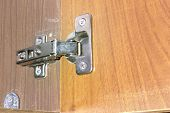 Concealed Cabinet Hinge. Reliable Fastening Of New Door To The Old Wardrobe Rack; With Clipping Path poster