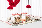 Candy Bar With A Lot Of Desserts, Meringue, Cupcake, Fruit And Sweet Cakes. Sweet Table For Birthday poster