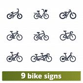Bicycle Icons Set. Vector Collection Of Different Solid Bike Signs. Bmx, Tandem, E-bike, City And Mo poster