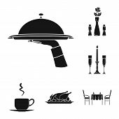 Champagne, Glasses, Candlestick, Candle, Fire, Table, Chairs, Serving, Dishes, Chicken, Vegetables,  poster