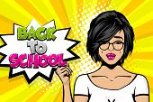 Back To School Young Sad Brunette Girl Pop Art In Glasses. Woman Pop Art. Comic Text Advertise Speec poster