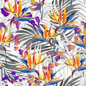 Watercolor Painting Of Tropical Flowers, Leaves, Colorful Staines Seamless Pattern. Watercolour Flow poster