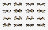 Cartoon Female Eyes. Illustration. Colored Vector Closeup Eyes With Glasses. Female Woman Eyes And B poster