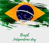 Brazil Independence Day Background. Abstract Grunge Brushed Watercolor Flag Of Brazil. National Holi poster