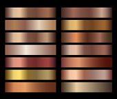 Bronze Foil Texture Gradients Templates Set. Collection Of Beige Gradient Illustration Gradation For poster