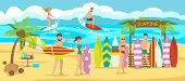 Friends Are Surfing On Beach. Surfboard Rental On Beach. Active Sports On Sunny Day. Man And Woman A poster