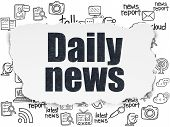 News Concept: Painted Black Text Daily News On Torn Paper Background With  Hand Drawn News Icons poster
