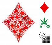 Diamonds Suit Composition Of Marijuana Leaves In Variable Sizes And Color Tints. Vector Flat Marijua poster