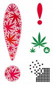 Exclamation Sign Composition Of Weed Leaves In Different Sizes And Color Tones. Vector Flat Weed Lea poster