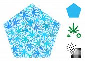 Filled Pentagon Collage Of Weed Leaves In Different Sizes And Color Shades. Vector Flat Marijuana Le poster