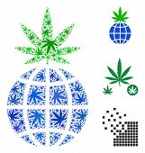 Global Cannabis Sprout Collage Of Hemp Leaves In Variable Sizes And Color Variations. Vector Flat He poster