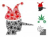 Joker Composition Of Weed Leaves In Different Sizes And Color Hues. Vector Flat Cannabis Leaves Are  poster