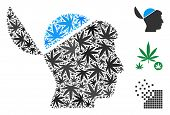 Open Brain Mosaic Of Weed Leaves In Various Sizes And Color Tints. Vector Flat Weed Items Are Combin poster