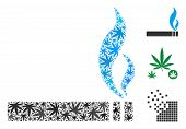 Smoking Cigarette Collage Of Weed Leaves In Various Sizes And Color Hues. Vector Flat Ganja Symbols  poster