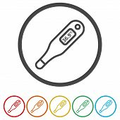 Thermometer Icon, Modern Thermometer, Medical Thermometer, 6 Colors Included poster