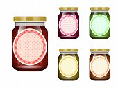 Glass Jar With Jam And Configure. Vector Illustration. Packaging Collection. Label For Jam. Bank Rea poster
