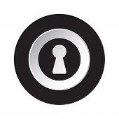 Round Isolated Black And White Button With Black Keyhole Icon poster