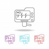 Electrocardiogram Device And Heart Pulse On Screen Line Icon. Elements Of Medical Tools In Multi Col poster