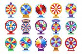 Fortune Wheels Flat Icons Set. Spin Lucky Wheel Casino Money Game Symbols. Fortune Wheel Game, Gambl poster